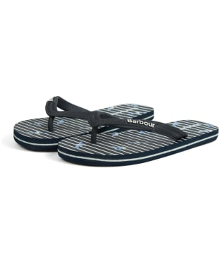 Women's Barbour Seagull Print Beach Flip Flops - Navy