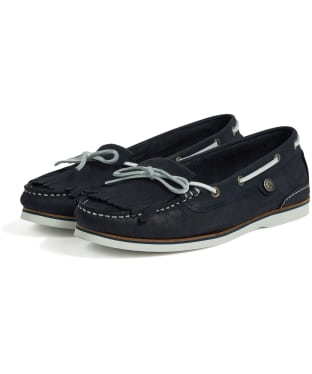 Women's Barbour Ellen Nubuck Boat Shoes - Navy