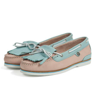 Women's Barbour Ellen Nubuck Boat Shoes - Light Pink / Light Blue