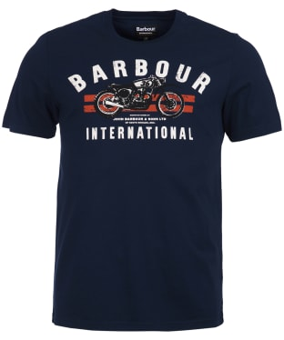 Men's Barbour International Bike Stripes Tee - Navy
