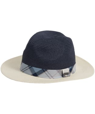 Women's Barbour Carron Fedora Hat - Cream / Navy / Fade