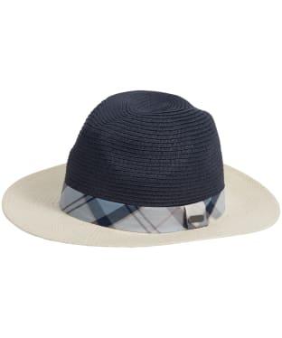 Women's Barbour Carron Fedora Hat - Cream / Navy / Fade