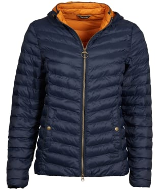 Women's Barbour Highgate Quilted Jacket - Navy / Marigold