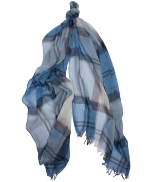 Women's Barbour Summer Dress Wrap - Fade Blue Tartan