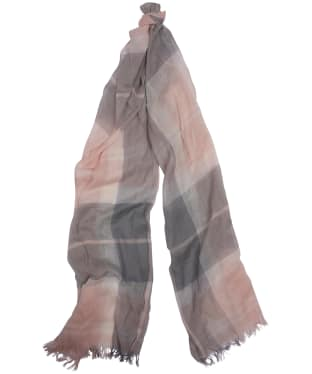 Women's Barbour Shield Tartan Scarf - Pink / Grey Tartan