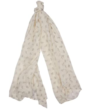 Women's Barbour Dog Print Wrap - White / Zinc