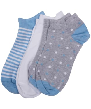 Women's Barbour Spot Stripe 3 Pack Socks - Light Blue