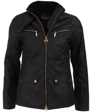 Women's Barbour International Ivy Waxed Jacket - Black