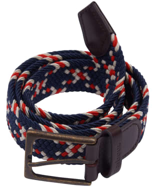 Men's Barbour Ford Belt - Red / Navy / Ecru