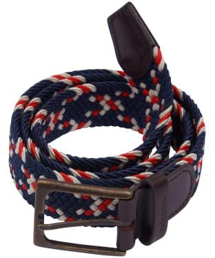 Men's Barbour Ford Belt - Red / Navy / Ecru