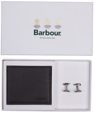 Men's Barbour Leather Wallet and Cufflinks Giftset