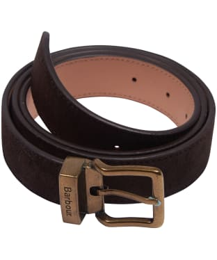 Men's Barbour Suede Belt - Dark Brown