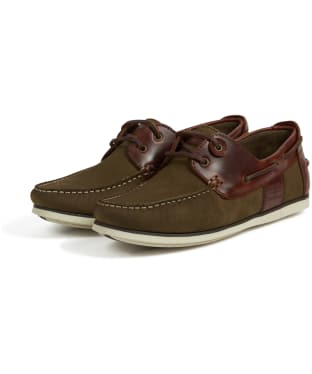 Men's Barbour Capstan Boat Shoes - Olive / Mahogany