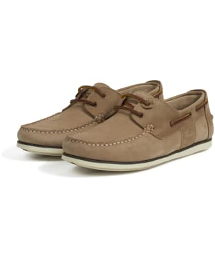 Men's Barbour Capstan Boat Shoes - Stone / Tan