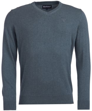 Men's Barbour Pima Cotton V-Neck Sweater - Flint Marl