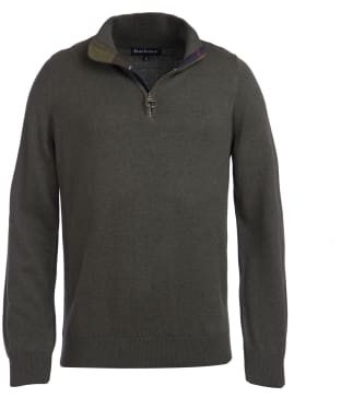 Men's Barbour Cotton Half Zip Sweater - Olive Marl
