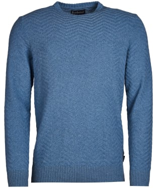 Men's Barbour Herringbone Crew Sweater - Admiral Blue