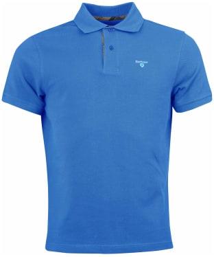 Men's Barbour Tartan Pique Polo Shirt - Delft Blue