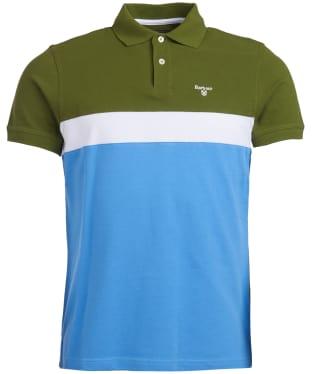 Men's Barbour Gill Panel Polo Shirt - Delft Blue