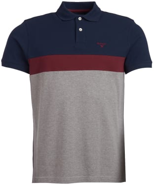 Men's Barbour Gill Panel Polo Shirt - Mid Grey Marl