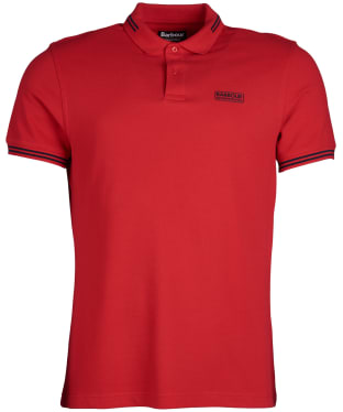 Men's Barbour International Essential Tipped Polo Shirt - Vibrant Red