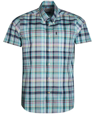 Men's Barbour Madras 3 S/S Tailored Shirt - Light Aqua Check