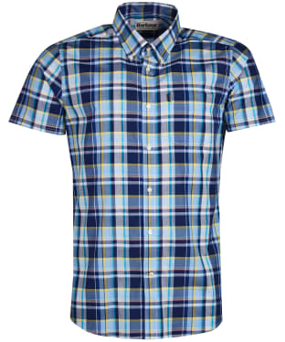Men's Barbour Madras 3 S/S Tailored Shirt - Sky Blue Check
