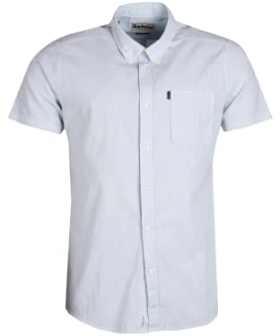 Men's Barbour Seersucker 3 Short Sleeved Tailored Shirt - Mint