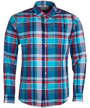 Men's Barbour Madras 1 Tailored Shirt - Aqua