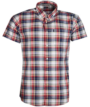 Men's Barbour Madras 1 Short Sleeved Slim Fit Shirt - Pink
