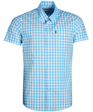 Men's Barbour Gingham 3 Short Sleeved Tailored Shirt - Pale Blue