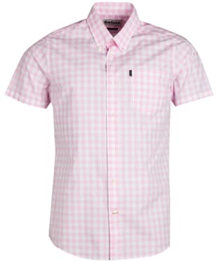 Men's Barbour Gingham 3 Short Sleeved Tailored Shirt - Pink