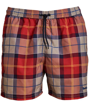Men's Barbour Tartan Swim Shorts - Red