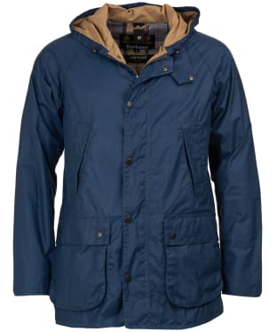 Men's Barbour Lightweight Hooded Bedale Waxed Jacket - Dark Denim