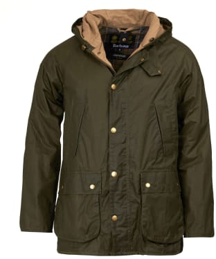 Men's Barbour Lightweight Hooded Bedale Waxed Jacket - Archive Olive
