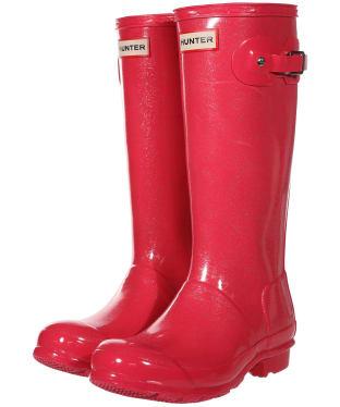 Hunter Original Kids Glitter Wellington Boots - Mosse Pink