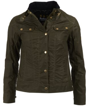 Women's Barbour International Pitch Waxed Jacket - Fern