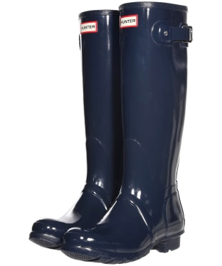 Women's Hunter Original Tall Gloss Wellington Boots - Navy