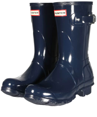 Women's Hunter Original Short Gloss Wellington Boots - Navy