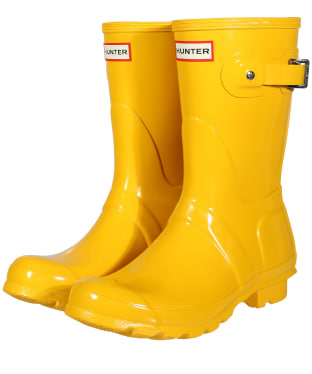 Women's Hunter Original Short Gloss Wellington Boots - Yellow