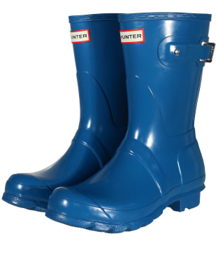 Women's Hunter Original Short Gloss Wellington Boots - Ocean Blue