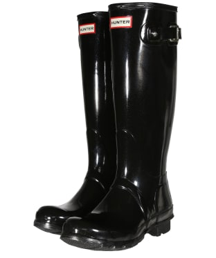 Women's Hunter Original Tall Gloss Wellington Boots - Black