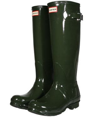 Women's Hunter Original Tall Gloss Wellington Boots - Dark Olive