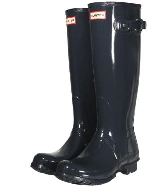 Women's Hunter Original Tall Gloss Wellington Boots - Dark Slate