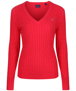 Women's Gant Stretch Cotton Cable V-Neck - Watermelon Red