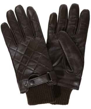 Men's Barbour Quilted Leather Gloves - Dark Brown