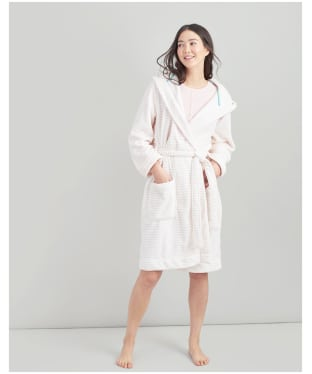 Women's Joules Rita Dressing Gown - Cream / Pink Stripe