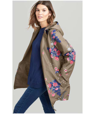 Women's Joules Dockland Reversible Waterproof Jacket - Khaki Floral