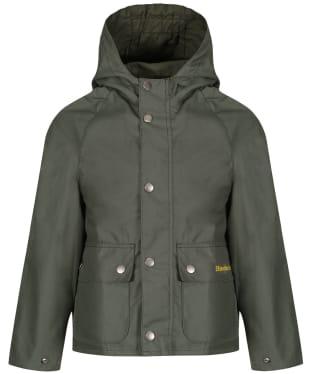 Boy's Barbour Pass Waxed Jacket, 2-9yrs - Light Moss