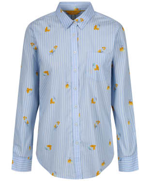 Women's Joules Lucie Printed Woven Shirt - Blue Floral Stripe
